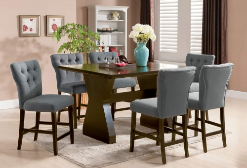 Effie Counter Height Dining Set - Gray Linen/Walnut