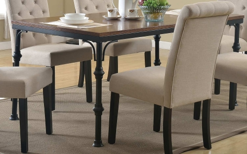 Vriel Dining Table - Dark Oak/Black