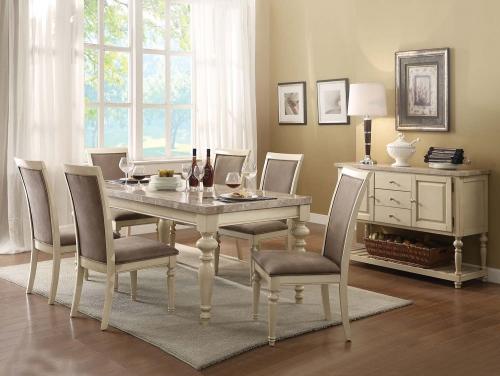 Ryder Dining Set - Marble/Antique White