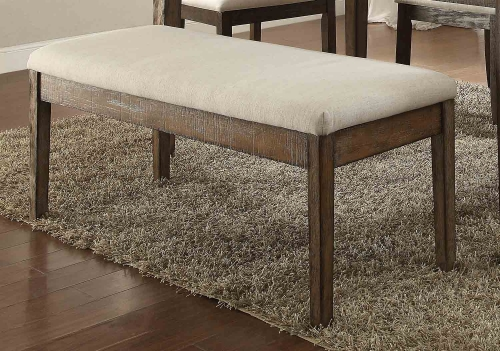 Claudia Bench - Beige Linen/Salvage Brown