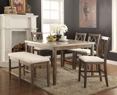 Claudia Counter Height Dining Set - White Marble/Salvage Brown