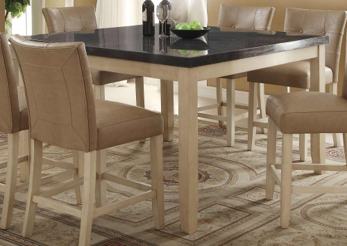 Faymoor Counter Height Table - Limestone Marble/Antique White