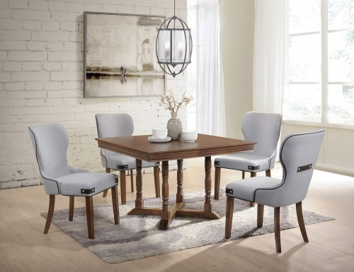 Wilfried Dining Set - Walnut/Gray Fabric