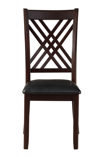 Katrien Side Chair - Black Vinyl/Espresso