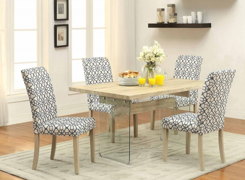 Glassden Dining Set - Light Oak/Clear Glass