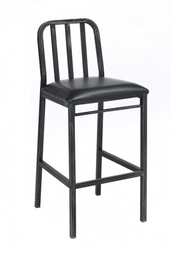 Jodie Bar Chair - Black Vinyl/Antique Black