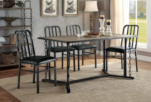 Jodie Dining Set - Rustic Oak/Antique Black