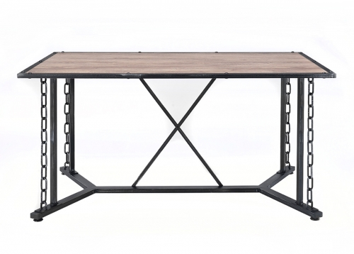 Jodie Dining Table - Rustic Oak/Antique Black
