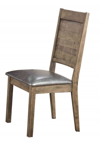 Ramona Side Chair - Silver Vinyl/Rustic Oak