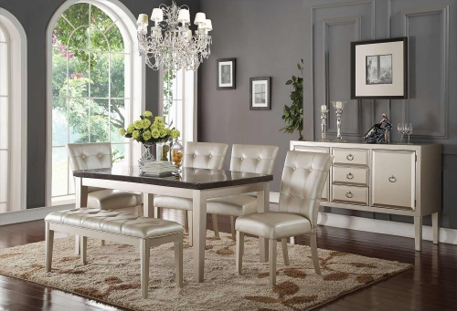Acme Voeville - II Dining Set - Bluestone/Platinum