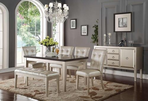 Voeville - II Dining Set - Bluestone/Platinum