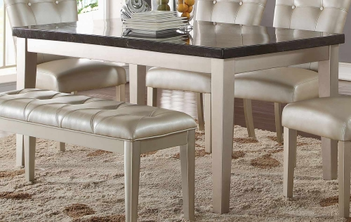 Acme Voeville - II Dining Table - Bluestone/Platinum