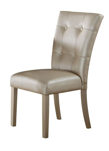 Acme Voeville - II Side Chair - Platinum Vinyl/Platinum