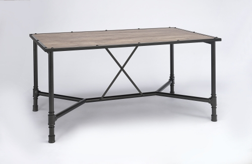 Caitlin Dining Table - Rustic Oak/Black