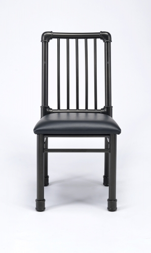 Caitlin Side Chair - Black Vinyl/Black