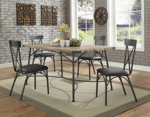 Itzel Dining Set - Antique Oak/Sandy Gray