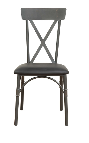 Itzel Side Chair - Black Vinyl/Sandy Gray