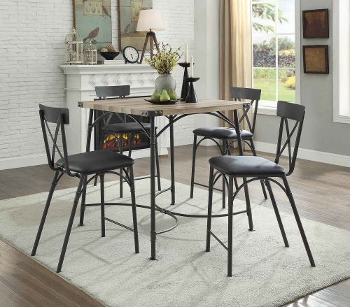 Itzel Counter Height Dining Set - Antique Oak/Sandy Gray