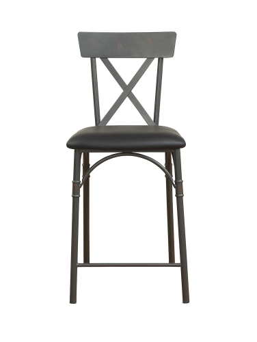 Itzel Counter Height Chair - Black Vinyl/Sandy Gray