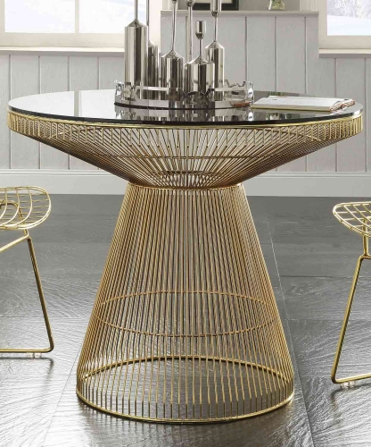 Rasia (Rianne) Dining Table - Gold/Clear Glass