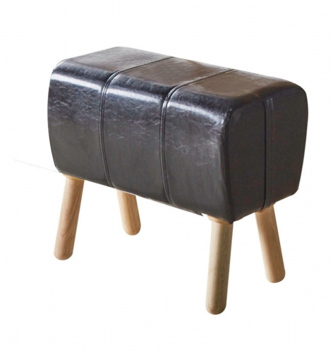 Dessa Stool - Black Vinyl/Natural