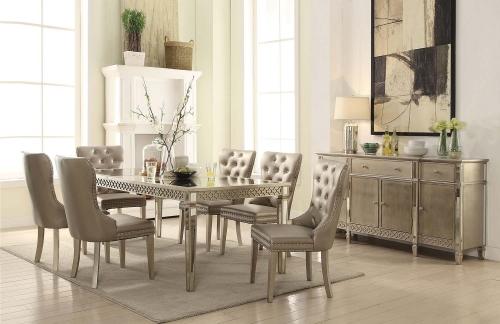 Kacela Dining Set - Mirror/Champagne