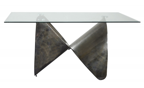 Widforss Dining Table - Antique Silver/Clear Glass