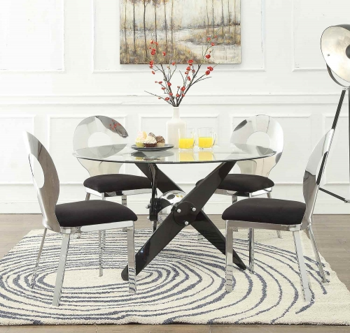 Hagelin Dining Set - Black/Chrome/Clear Glass