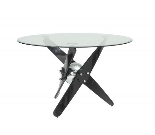 Hagelin Dining Table - Black/Chrome/Clear Glass