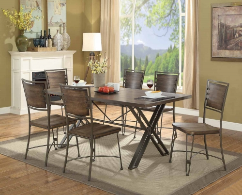 Jodoc Dining Set - Walnut/Gunmetal