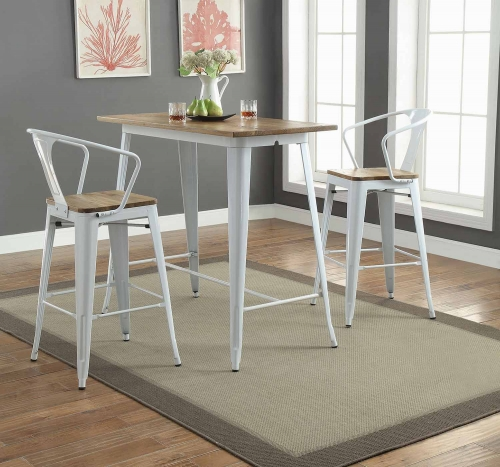 Jakia II Bar Set with Arm Chair - Natural/White