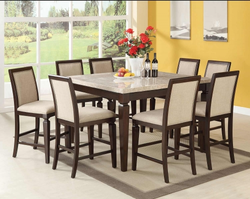 Agatha Counter Height Dining Set - White Marble/Espresso