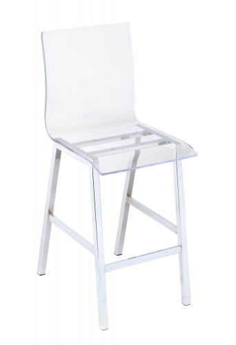 Nadie Counter Height Chair - Clear Acrylic/Chrome
