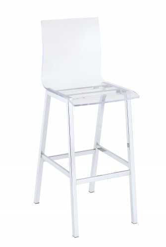 Nadie Bar Chair - Clear Acrylic/Chrome
