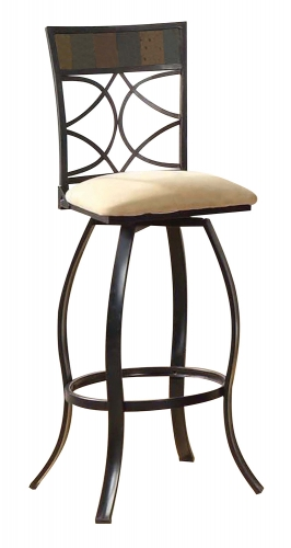 Pansy Bar Chair with Swivel - Beige Fabric/Black