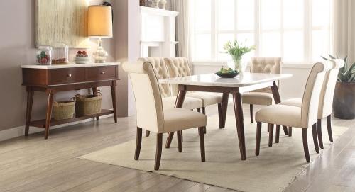Gasha Dining Set - White Marble/Walnut