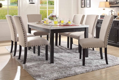 Nolan Dining Set - White Marble/Salvage Dark Oak
