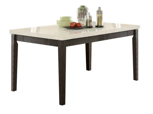Nolan Dining Table - White Marble/Salvage Dark Oak