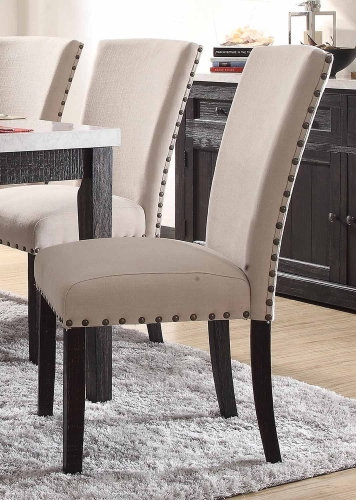 Nolan Side Chair - Linen/Salvage Dark Oak