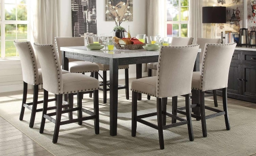 Nolan Counter Height Dining Set - White Marble/Salvage Dark Oak