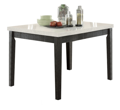 Nolan Counter Height Table - White Marble/Salvage Dark Oak