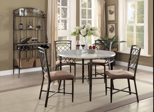 Aldric Dining Set - Faux Marble/Antique