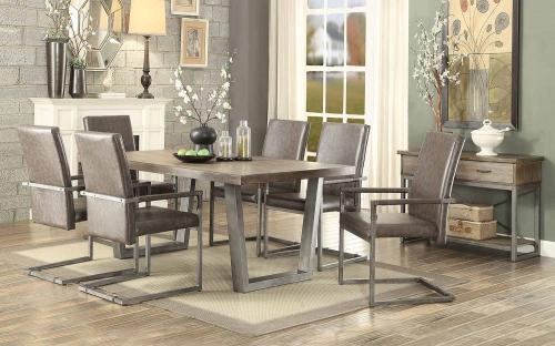 Lazarus Dining Set - Weathered Oak/Antique Silver