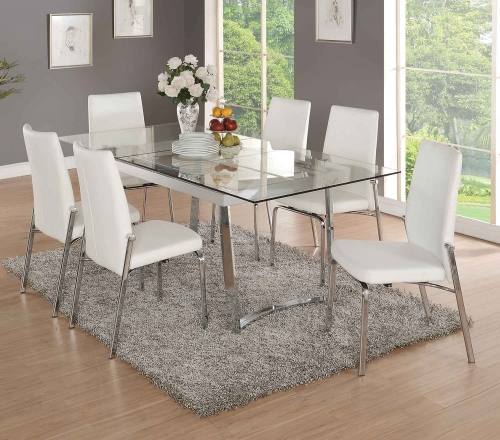 Osias Dining Set - Chrome/Clear Glass