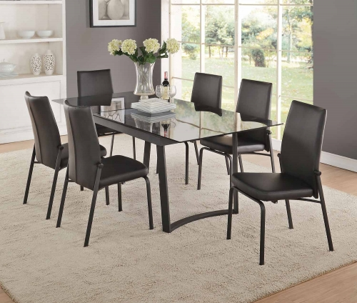 Osias Dining Set - Black/Smoky Glass