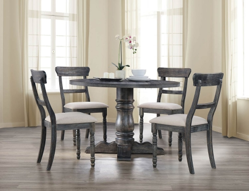 Leventis Dining Set with Pedestal - Weathered Gray