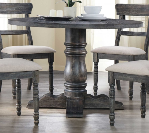 Leventis Dining Table with Pedestal - Weathered Gray