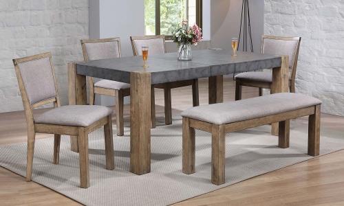Paulina II Dining Set - Dark Gray/Rustic Oak