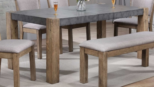 Paulina II Dining Table - Dark Gray/Rustic Oak