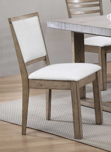 Paulina Side Chair (Cushion Back) - White Vinyl/Rustic Oak